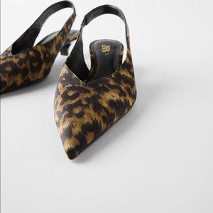 Zara NWT animal print slingback heels size 6 1/2